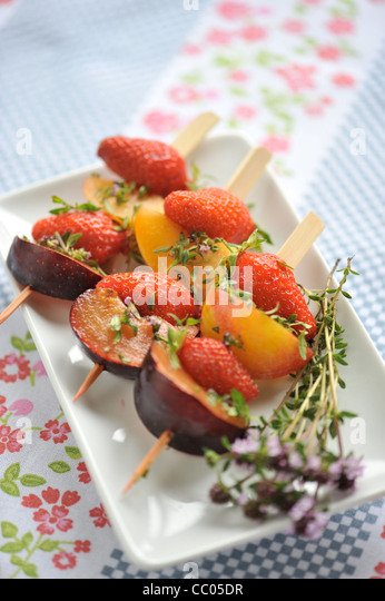 Fruits and Thyme Skewers - Stock Image