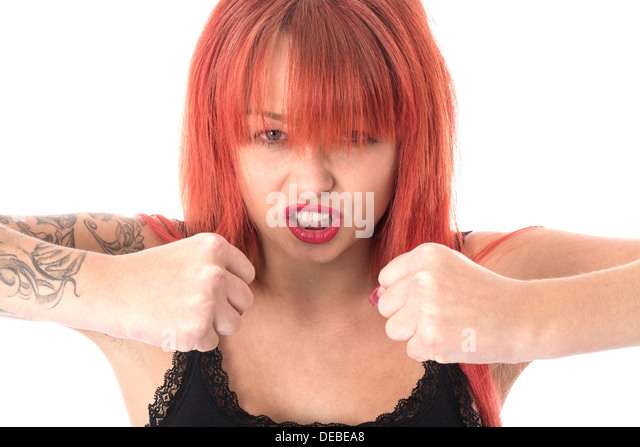 Model Released. Angry Tense Young Woman - Stock Image
