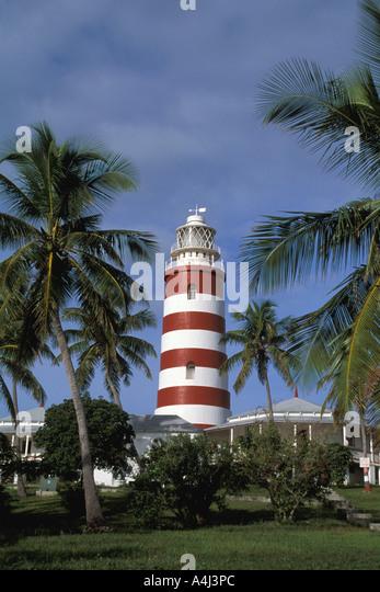 Bahamas Abaco Hopetown Harbour lighthouse - Stock Image