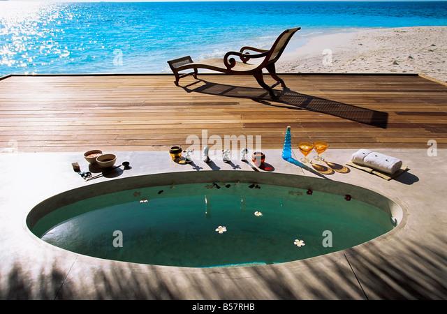 Spa bath, Maldives, Indian Ocean, Asia - Stock Image
