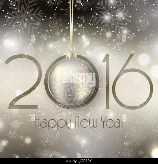 Happy New Year background with hanging bauble - Stock Image