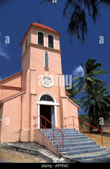Antigua Colorful Pink Church against Blue Sky Our Lady of Perpetual Help Catholic Church - Stock Image