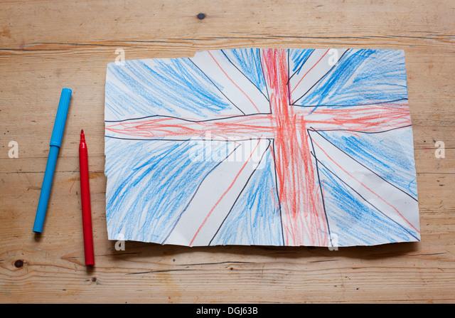 Drawing of British Union Flag - Stock Image