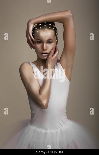 Glamor. Artistic Extravagant Woman. Trendy Bronzed Makeup - Stock Image