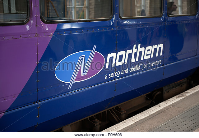 Manchester UK Logo Northern trains, a Serco and Abellio joint venture. - Stock Image