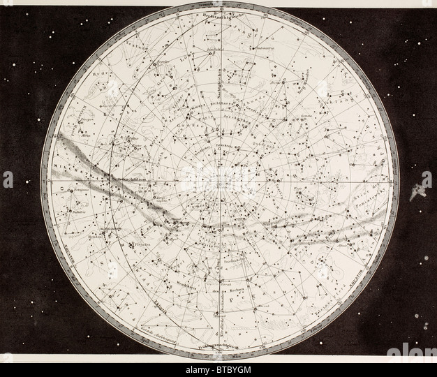 19th century map of the Northern Heavens. - Stock Image