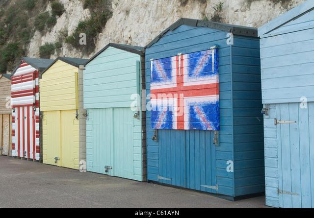 British Union Jack decorated beach Hut, Broadstairs Kent UK - Stock Image