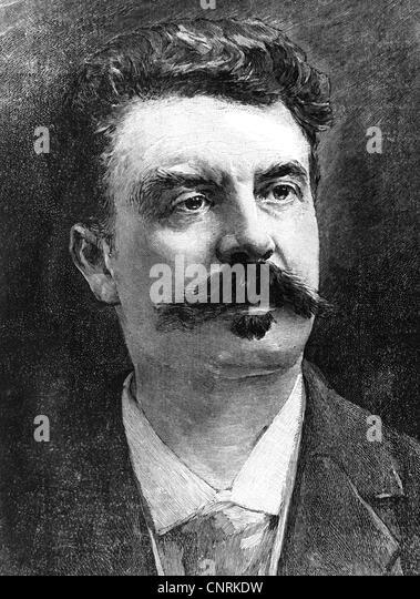 Maupassant, Guy de, 5.8.1850 - 7.7.1893, French author / writer, portrait, wood engraving, beard, moustache, France, - Stock Image