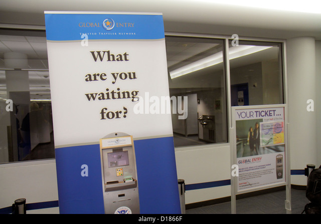 Virginia Sterling Washington DC D.C. Dulles International Airport IAD banner promotion Global Entry Homeland Security - Stock Image
