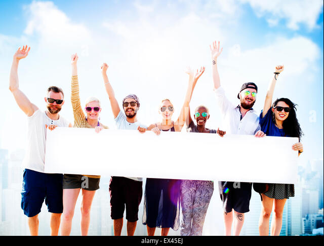 Diverse Summer Friends Fun Copy Space Concept - Stock Image