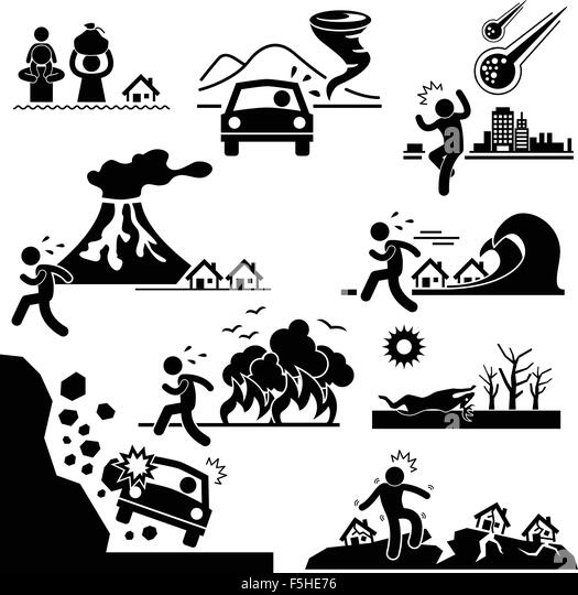 Disaster Doomsday Catastrophe Stick Figure Pictogram Icon - Stock Image