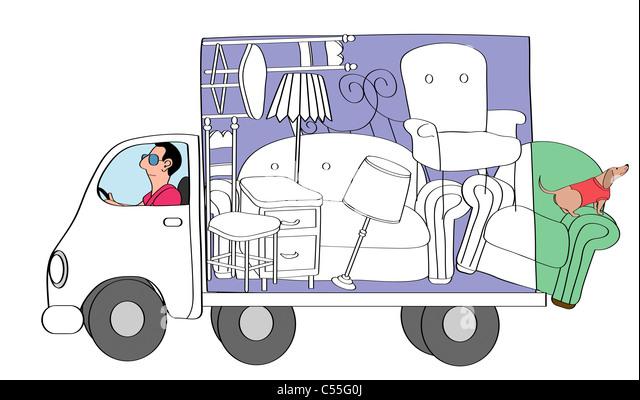 Man driving moving van - Stock Image