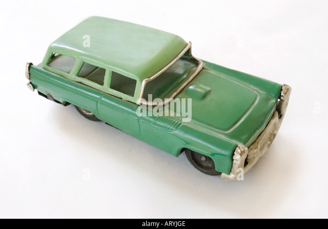 Late 1950s green station wagon tin toy. - Stock Image