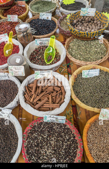 Street market, spices, Lourmarin, Provence , Department Vaucluse, Provence, France - Stock Image