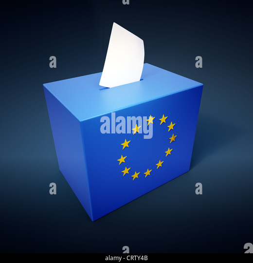 Ballot box with the EU symbol - European elections concept illustration - Stock Image