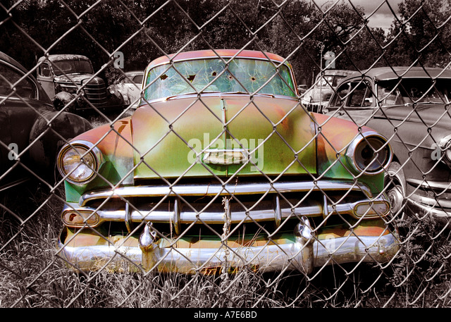 1950 Pontiac wreckage from drive by shooting Utah USA - Stock Image