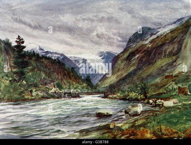 Loen Elv:  a rocky landscape        Date: 1909 - Stock Image