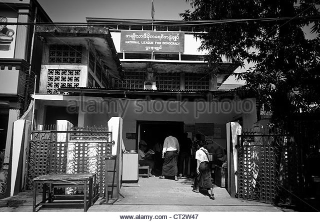 The headquarters of Burma's opposition party, the National League for Democracy (NLD) lead by Aung San Suu Kyi - Stock-Bilder