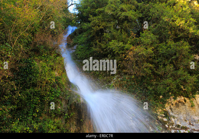 Waterfall river water Caucasus mountains, Abkhazia, Georgia - Stock Image