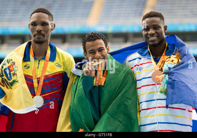 Rio De Janeiro, Brazil. 09th Sep, 2016. T20 during the Athletics Paralympics 2016 hel the Olympic Stadium (Engenhão). - Stock-Bilder