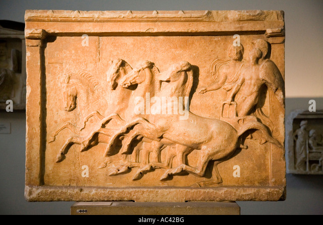 Consecration Relief for a victory in a chariot race 400 BC Marble, Pergamon Museum, Berlin, Germany - Stock Image