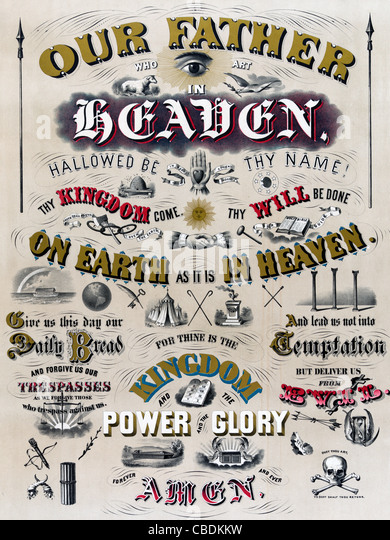 The Lord's prayer, ornately illustrated, with symbols relating to the words. - Stock Image