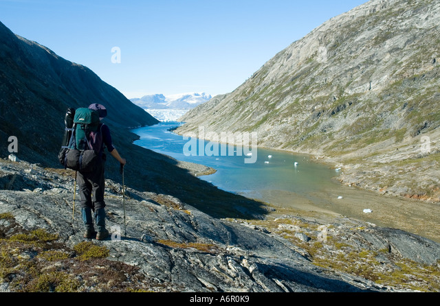 At the head of Amitsivartive Fjord, an arm of Sermilik Fjord, East Greenland - Stock Image