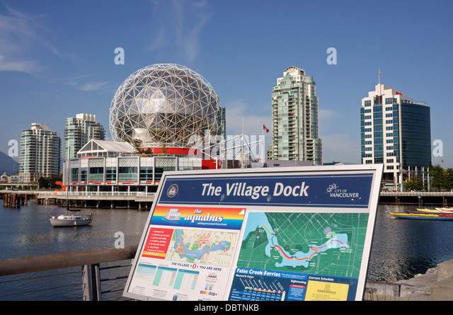 Tourist map of False Creek Village with Science World or Telus World of Science, Vancouver, British Columbia, Canada - Stock-Bilder