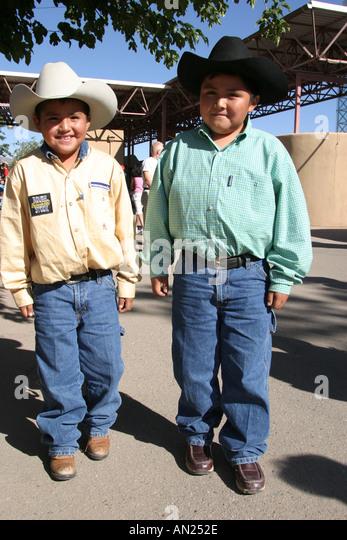 New Mexico Albuquerque State Fair young boys male cowboys W - Stock Image