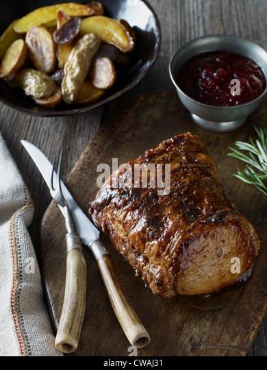 Roast pork tenderloin - Stock Image