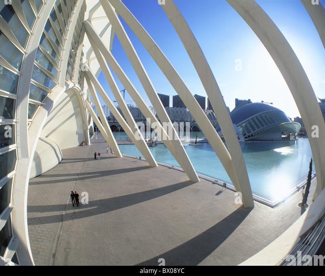 architecture Arts and Science city Calatrava modern building construction Spain Europe Valencia - Stock-Bilder