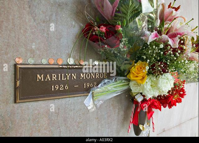 Grave of Marilyn Monroe, Westwood Memorial Park, Los Angeles, USA - Stock Image