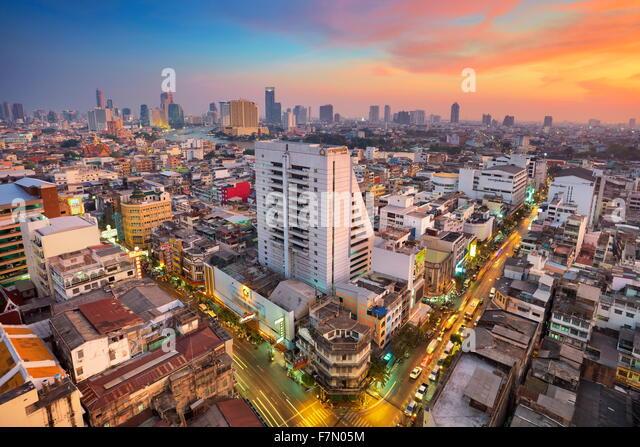 Thailand - Bangkok cityscape at sunset, Bangkok - Stock Image