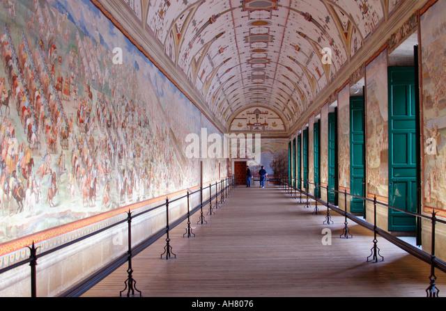 San Lorenzo de El Escorial Madrid Province Spain Hall of Battles - Stock Image