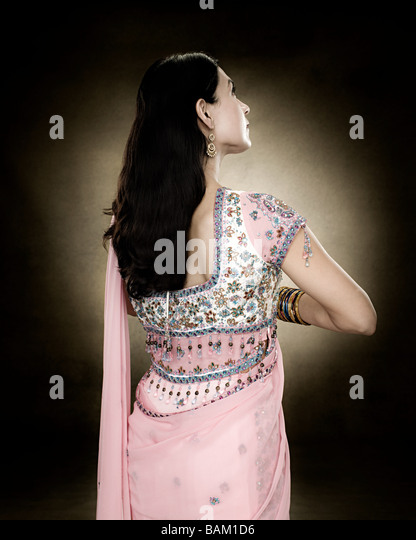 Rear view of a hindu woman - Stock Image
