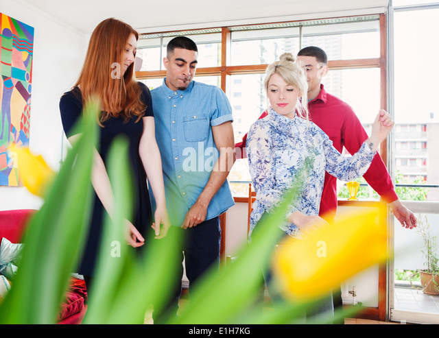 Young adults in living room - Stock Image