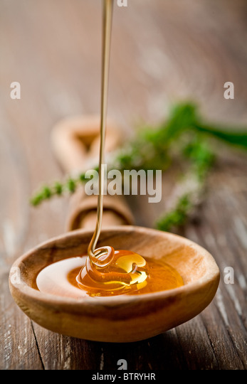 wooden spoon with wild honey falling into it - Stock-Bilder