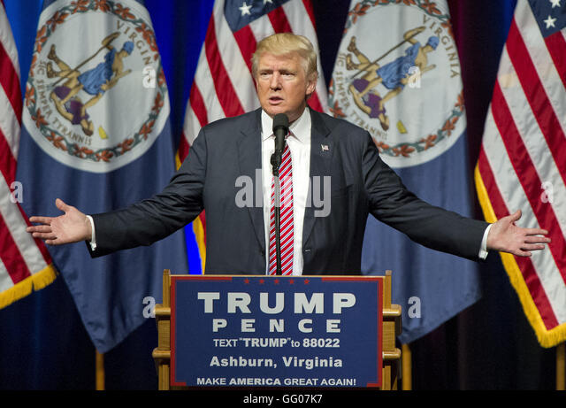 Ashburn, Virginia, USA. 2nd Aug, 2016. Donald Trump, the Republican candidate for President of the United States, - Stock Image