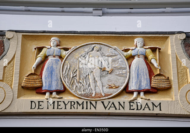 Inscription on a house facade, Edam, province of North Holland, The Netherlands - Stock Image
