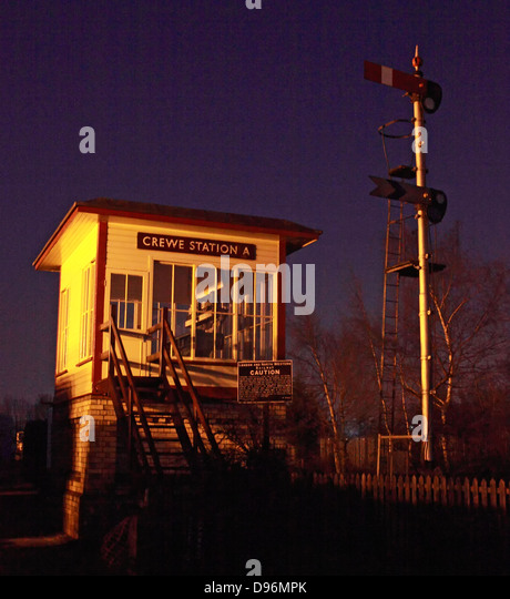 Crewe Station A old signal box at Dusk, Cheshire England, UK - Stock Image