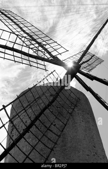 balearic islands windmill wind mills Spain traditional culture - Stock-Bilder
