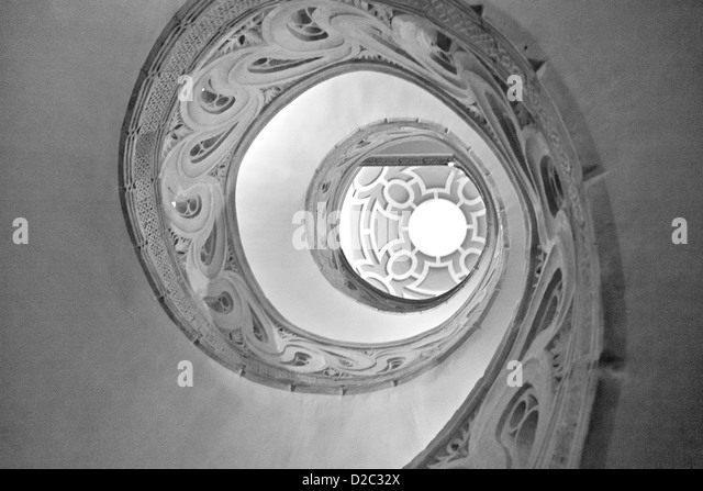 An abstract black and white photo of the spiral staircase, Pamplona Cathedral. - Stock Image