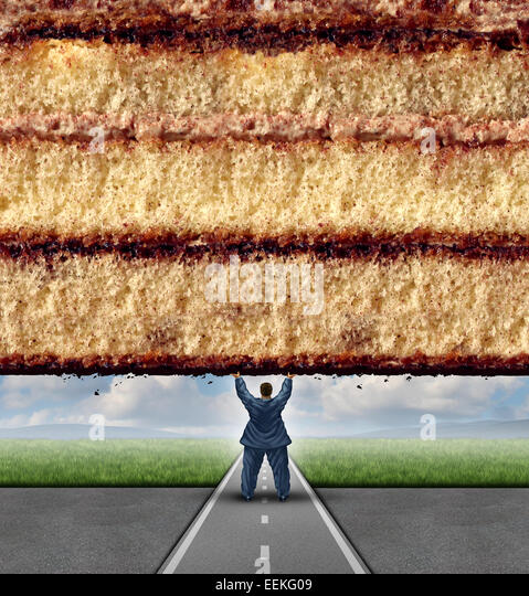 Get fit concept and losing weight fitness and health care metaphor as an overweight man lifting a wall made of cake - Stock-Bilder