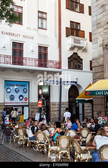 South Africa African Cape Town City Centre center Green Market Square restaurant alfresco tables Cafe Sante - Stock Image