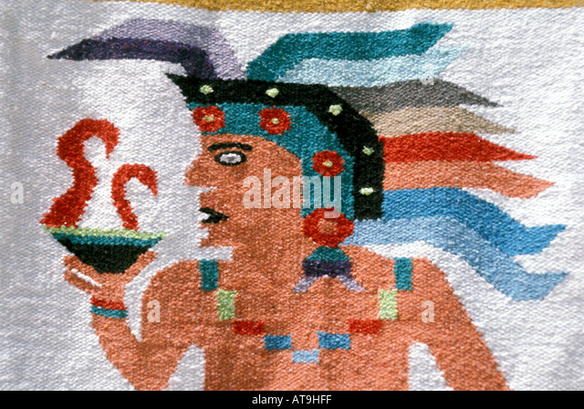 cancun mexico area maya mayan design tapestry wall hanging shopping souvenirs - Stock Image