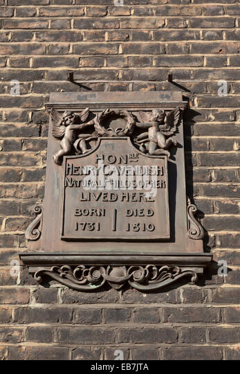 Henry Cavendish Natural Philosopher Lived Here - Stock Image