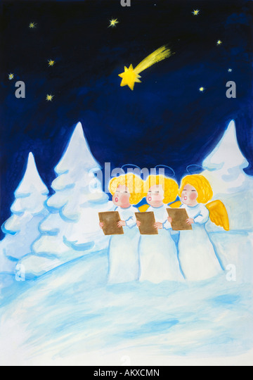 Angels' choir in a snowy forest, illustration - Stock-Bilder