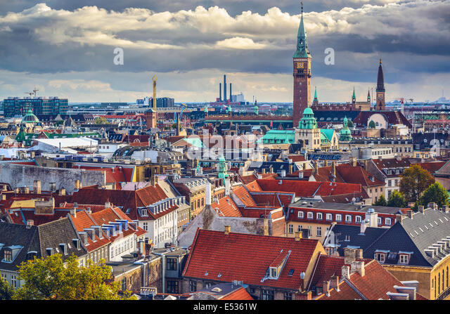 Copenhagen, Denmark old city skyline. - Stock-Bilder