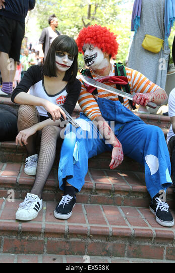 girl and boy participate have fun during zombie walk Istanbul Nisantasi Park - Stock Image