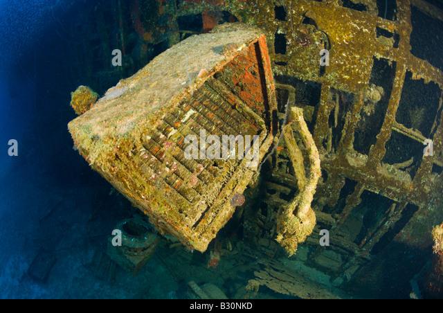 Wreckage of Destroyer USS Anderson Marshall Islands Bikini Atoll Micronesia Pacific Ocean - Stock Image
